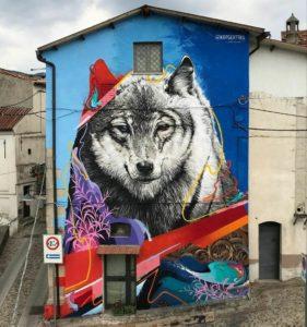 Kraser Tres | Lupo grigio. blue/rosso | Festival Gulia Urbana | Mangone, Italy | 2019